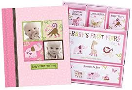 Baby Photo Album Book Baby Girl Memory Book Scrapbook Photo Picture Album With Storage Dividers Keepsake Box Babys First Five Years Diary Journal Records Milestone