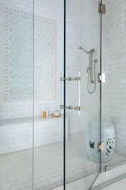 frameless glass shower door handles blue geometric shower accent tiles with bench frameless sliding glass shower