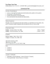 Sample Airline Pilot Resume Sample Templates Pilot Resume Template ...