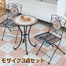 this othello balcony set includes a table and two chairs with mosaic patterns on its surface it can create that pop of color and liven up the