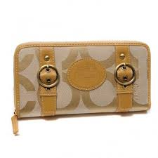 Coach Double Buckle Logo Large Yellow Wallets CJV