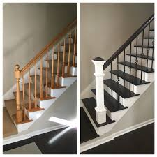 Renovating stairs. Wrought iron. Wood floor finishing. Clean lines