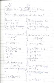 algebra writing equations of parallel and perpendicular lines