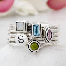 Design Your Own Stackable Rings Build Your Own Silver Stack Birthstone And Initial Ring Set