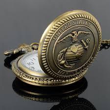 popular marine watch buy cheap marine watch lots from marine 2016 men s united states eagles marine corps retro style bronze quartz pocket watch