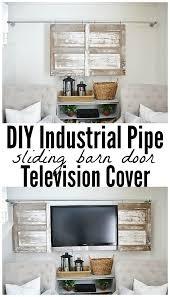 Industrial Pipe Sliding Barn Door TV Cover | Liz Marie | Bloglovin'