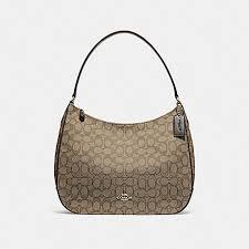 COACH f29959 ZIP SHOULDER BAG IN SIGNATURE JACQUARD KHAKI BROWN IMITATION  GOLD