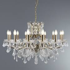 searchlight paris 12 light chandelier clear crystal drops trim antique brass
