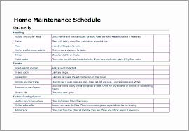 Maintenance Log Sheet Template Unique Home Maintenance Schedule