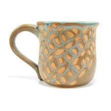 Decorative pottery mug - pastel coffee mug - rustic coffee cup - girly tea  cup -