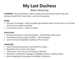ppt as level english literature poetry revision powerpoint  my last duchessrobert browning