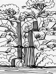 Plain Ideas Coloring Page Waterfall Printable Waterfall Nature Scene