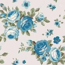 Blue Vintage Floral Wallpaper
