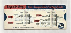Details About 1959 Reynolds Wrap Aluminum Foil Time Temperature Slide Rule Cooking Chart