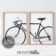 bicycle wall art set of 2 prints bike