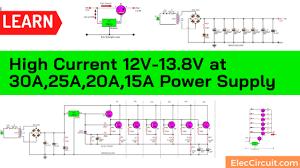 High Current <b>12V</b>-<b>13.8V</b> at 30A,25A,20A,15A Power Supply - Elec ...