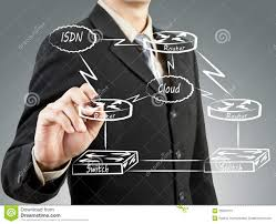 Basic Concep Business Man Draw Network Diagram Basic Concept Stock Image