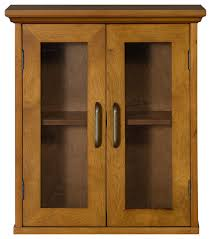 logan weathered oak wall cabinet 2 glass doors transitional bathroom cabinets by elegant home fashions