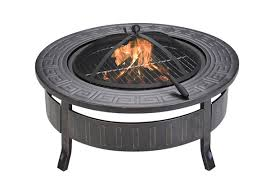 round outdoor fire pit with grill