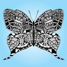 Fototapeta Motýl Na Květině Art Linky Tetování černý A Bílý Stylizovaný