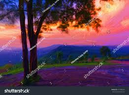 digital painting colorful style landscape mountain at sunset