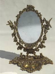 vine gilt br mirror vanity stand ornate fairy tale gold oval frame