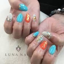 ターコイズブルーオレンジ Luna Nailルナネイルのネイルデザイン