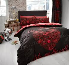world printed duvet cover fl bedding set single double king captivating red and black