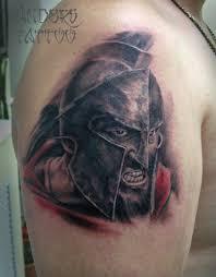 тату татуировка спартанец на плече