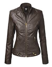 LL Womens Quilted Biker Jacket at Amazon Women's Coats Shop & LL Womens Dressy Vegan Leather Biker Jacket XS COFFEE Adamdwight.com