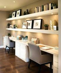 home office shelving. Office Shelves Home Shelf Floating With Lights Underneath And Two Desks For A Shared Shelving