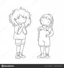 Illustrazione Piedi Da Colorare Due Giovani Ragazze In Piedi