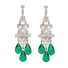 faux diamond emerald art deco style chandelier earrings at 1stdibs emerald chandelier earrings