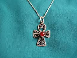 amber egyptian sterling silver ankh