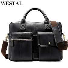 WESTAL <b>leather men's briefcase leather laptop bag men men's</b> ...