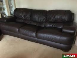 three piece suite brown leather