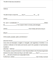 Bill Of Sale For Business Sample Business Bill Of Sale Form 6 Free Documents In Pdf Word