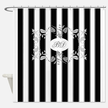 black and white shower curtains. Black And White Stripes With Gray Shower Curtain Curtains