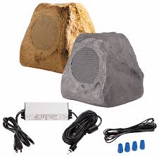 btr150 wireless 5 25 bluetooth rock speaker pair ip67 waterproof power adapter sandstone canyon brown or