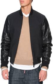 dsquared2 dsquared2 wool er jacket with leather sleeves