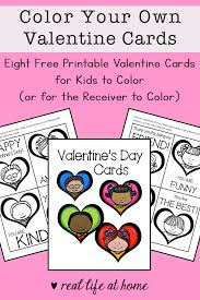 Two sizes of valentine coloring cards: Free Printable Valentine Cards To Color For Kids Set Of 8 Cards