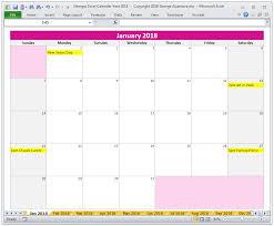 excel calandar 2018 calendar year in excel spreadsheet printable digital
