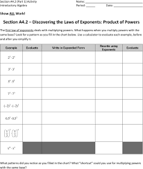 Section A4 2 Discovering The Laws Of Exponents Product Of