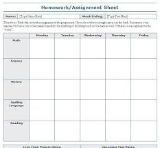 Homework Sheet Template For Teachers Printable Homework Assignment Sheets Rome Fontanacountryinn Com