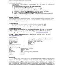 Samp Simple Qtp Sample Resume For Software Testers Best Sample