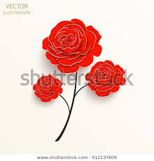 Flower Out Of Paper Paper Flower Rose Cut Out Paper Stock Vector Royalty Free