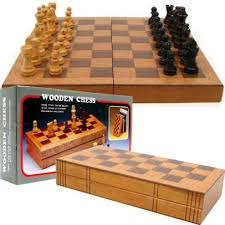 Wooden Monopoly Game Set Mesmerizing Chess Board Wooden Book Style With Staunton Chessmen 32