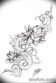 черно белый эскиз тату рисункок лотос 11032019 031 Tattoo