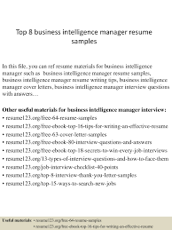Business Intelligence Manager Resume Example Proyectoportal Com