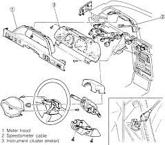 1 exploded view of the 1990 94 323 and protege instrument cluster assembly other models are similar